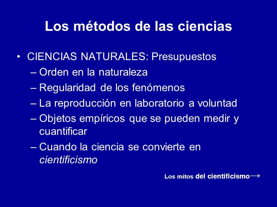 Los métodos de las ciencias CIENCIAS NATURALES: Presupuestos –Orden en la naturaleza –Regularidad de los fenómenos –La reproducción en laboratorio a v