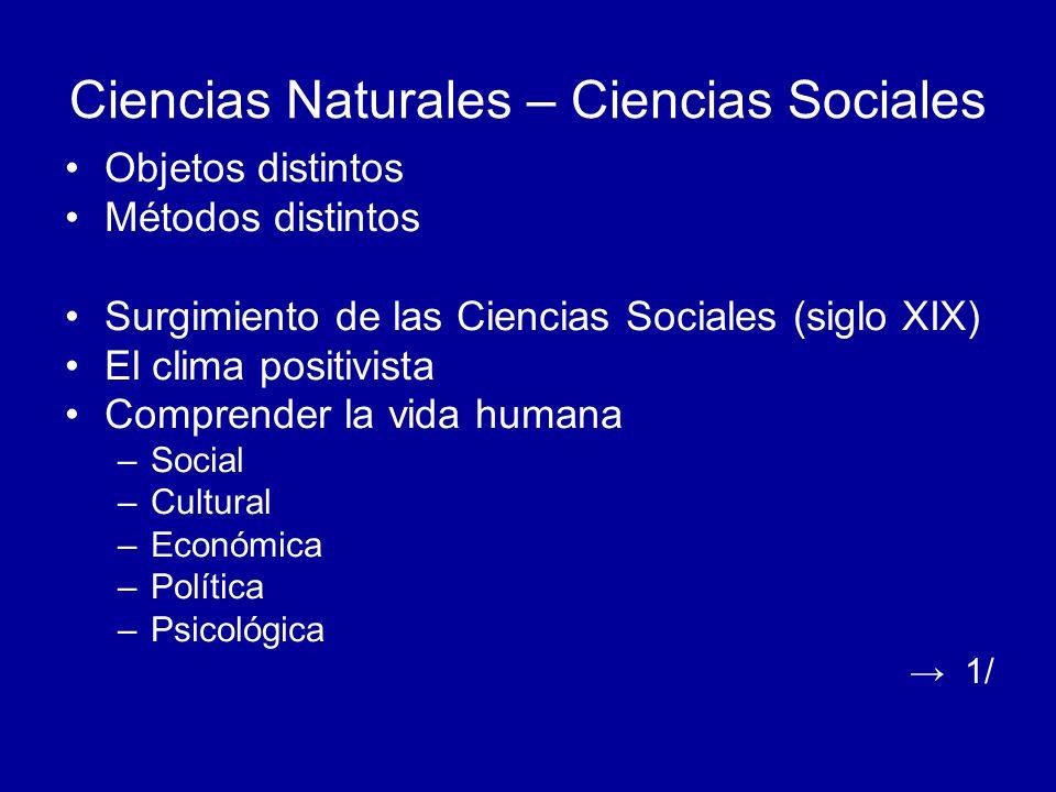 Ciencias Naturales – Ciencias Sociales Objetos distintos Métodos distintos Surgimiento de las Ciencias Sociales (siglo XIX) El clima positivista Compr