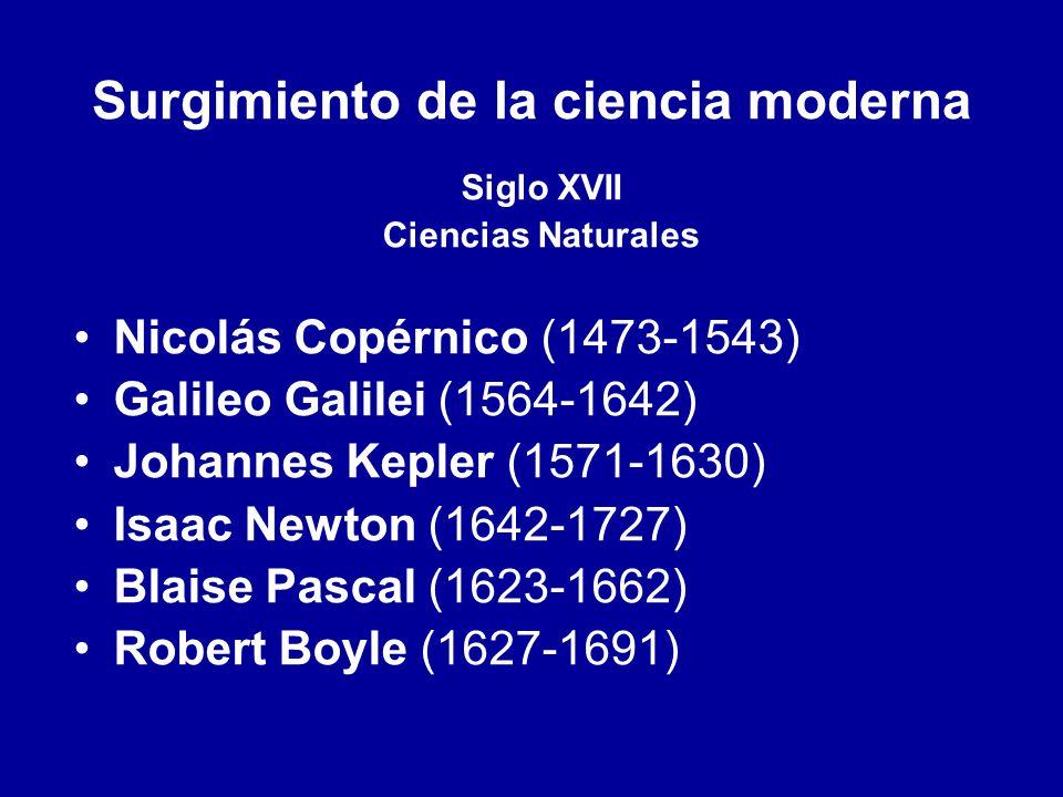 Surgimiento de la ciencia moderna Siglo XVII Ciencias Naturales Nicolás Copérnico (1473-1543) Galileo Galilei (1564-1642) Johannes Kepler (1571-1630)