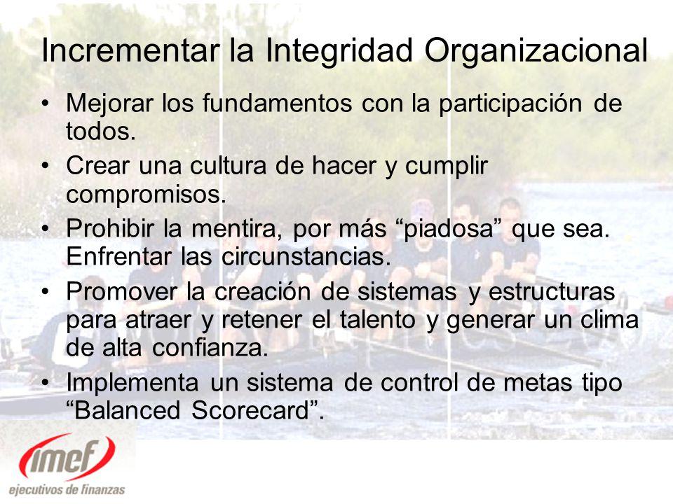 Incrementar la Integridad Organizacional Mejorar los fundamentos con la participación de todos.