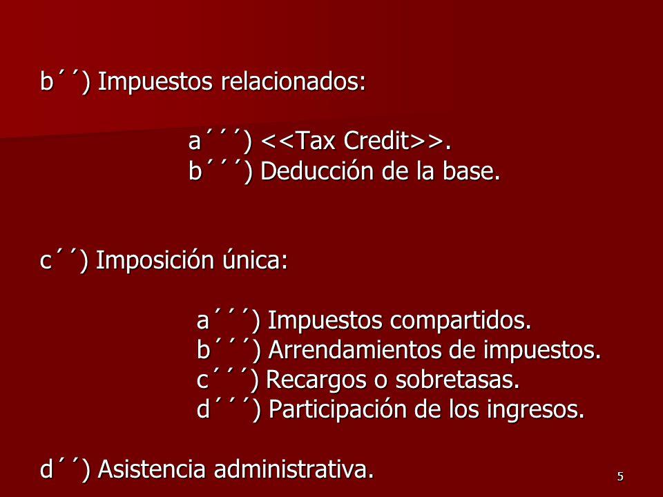 55 b´´) Impuestos relacionados: a´´´) >. a´´´) >. b´´´) Deducción de la base. b´´´) Deducción de la base. c´´) Imposición única: a´´´) Impuestos compa