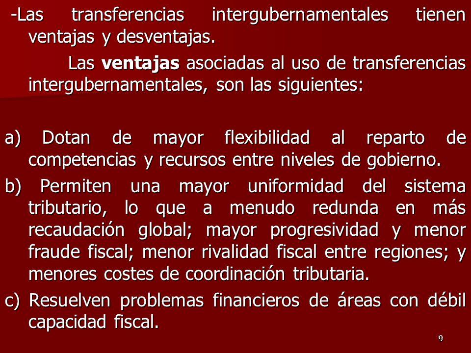 99 -Las transferencias intergubernamentales tienen ventajas y desventajas.