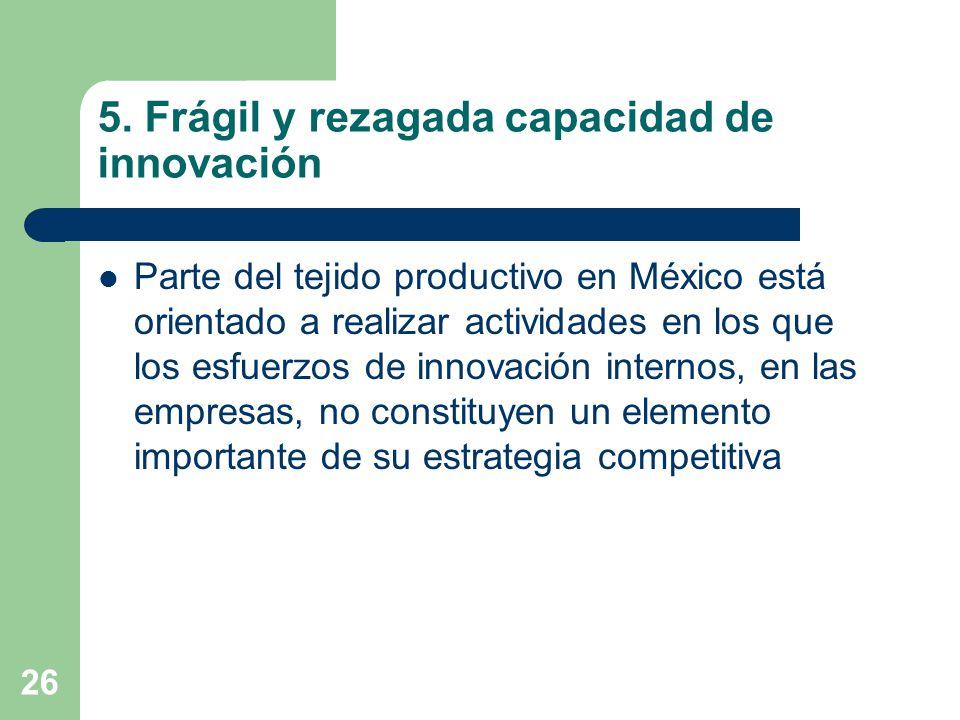 26 5. Frágil y rezagada capacidad de innovación Parte del tejido productivo en México está orientado a realizar actividades en los que los esfuerzos d