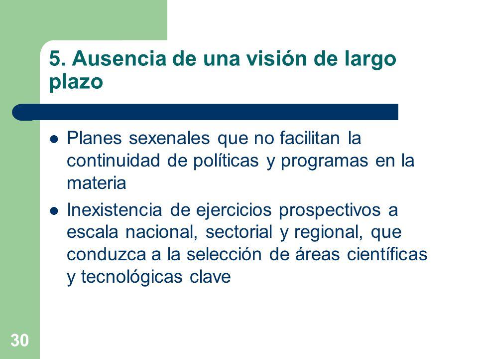 30 5. Ausencia de una visión de largo plazo Planes sexenales que no facilitan la continuidad de políticas y programas en la materia Inexistencia de ej