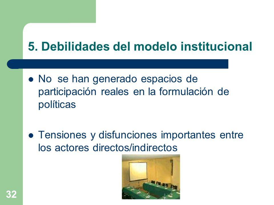 32 5. Debilidades del modelo institucional No se han generado espacios de participación reales en la formulación de políticas Tensiones y disfunciones