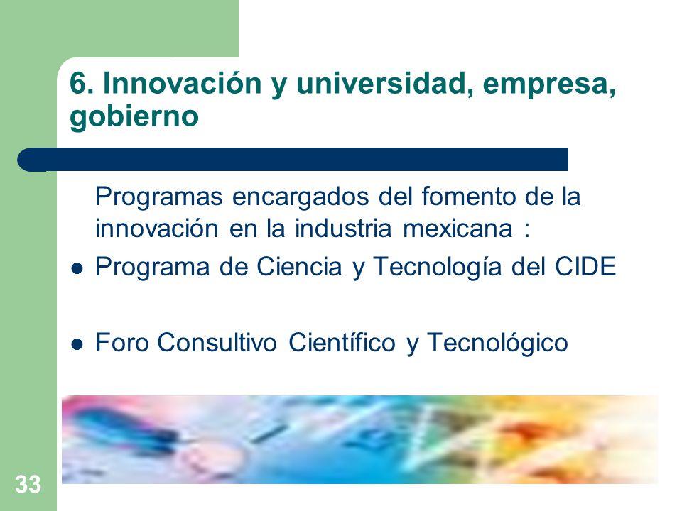 33 6. Innovación y universidad, empresa, gobierno Programas encargados del fomento de la innovación en la industria mexicana : Programa de Ciencia y T