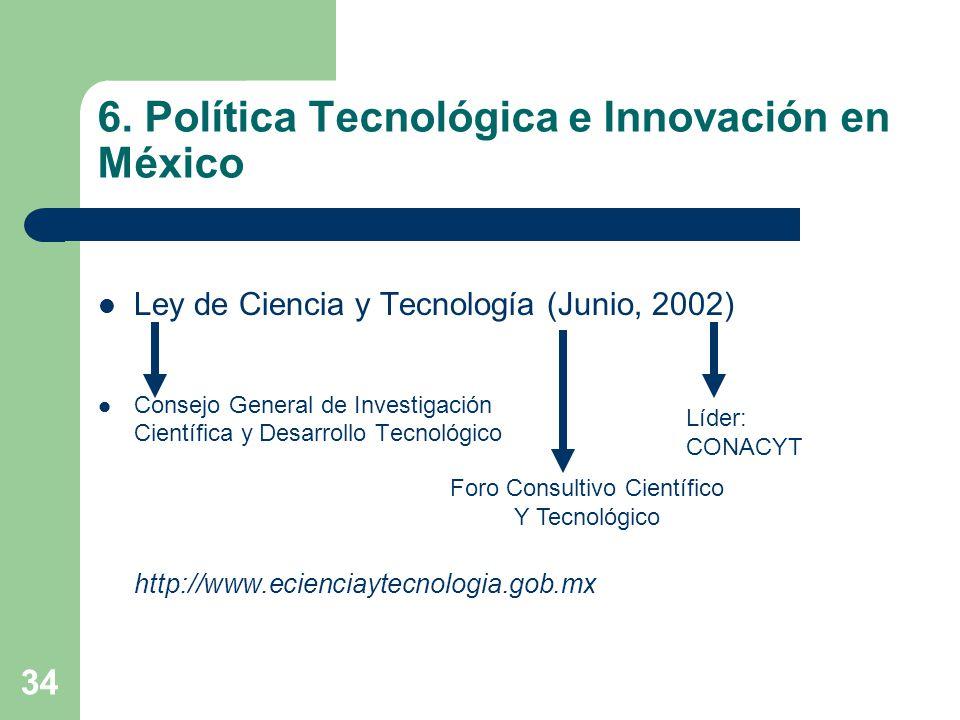 34 6. Política Tecnológica e Innovación en México Ley de Ciencia y Tecnología (Junio, 2002) Consejo General de Investigación Científica y Desarrollo T