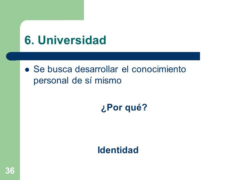 36 6. Universidad Se busca desarrollar el conocimiento personal de sí mismo ¿Por qué? Identidad