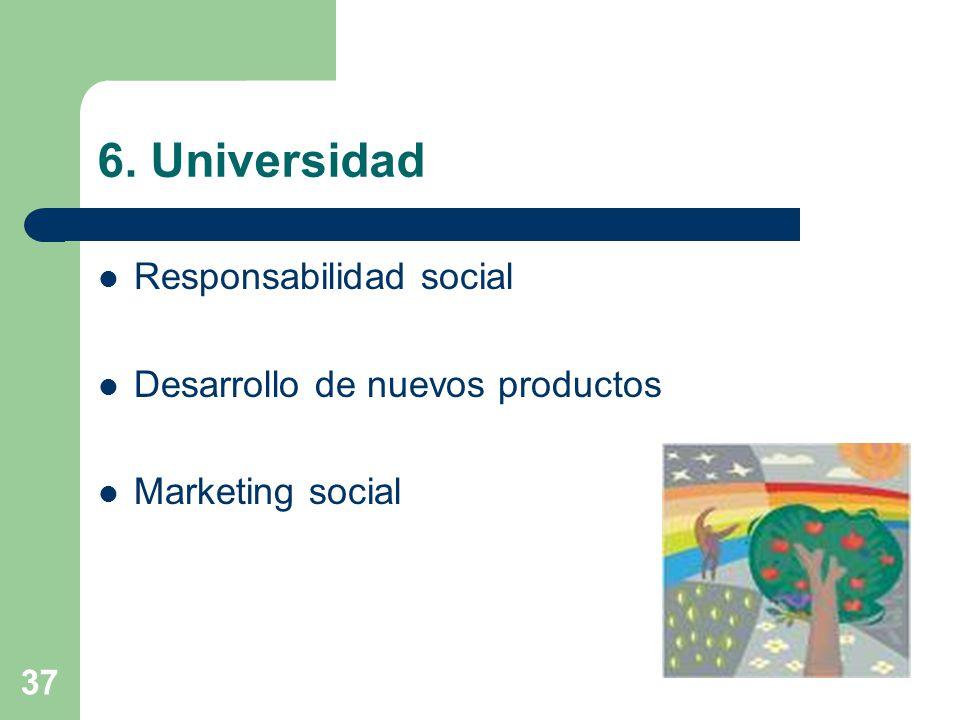 37 6. Universidad Responsabilidad social Desarrollo de nuevos productos Marketing social