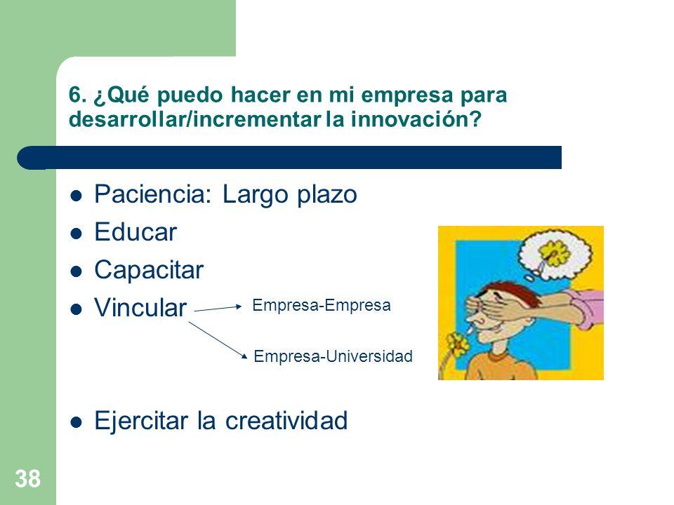 38 6. ¿Qué puedo hacer en mi empresa para desarrollar/incrementar la innovación? Paciencia: Largo plazo Educar Capacitar Vincular Ejercitar la creativ