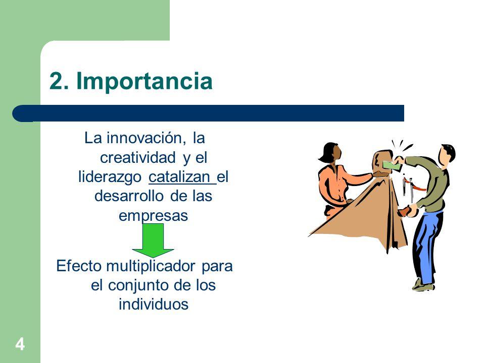 4 2. Importancia La innovación, la creatividad y el liderazgo catalizan el desarrollo de las empresas Efecto multiplicador para el conjunto de los ind