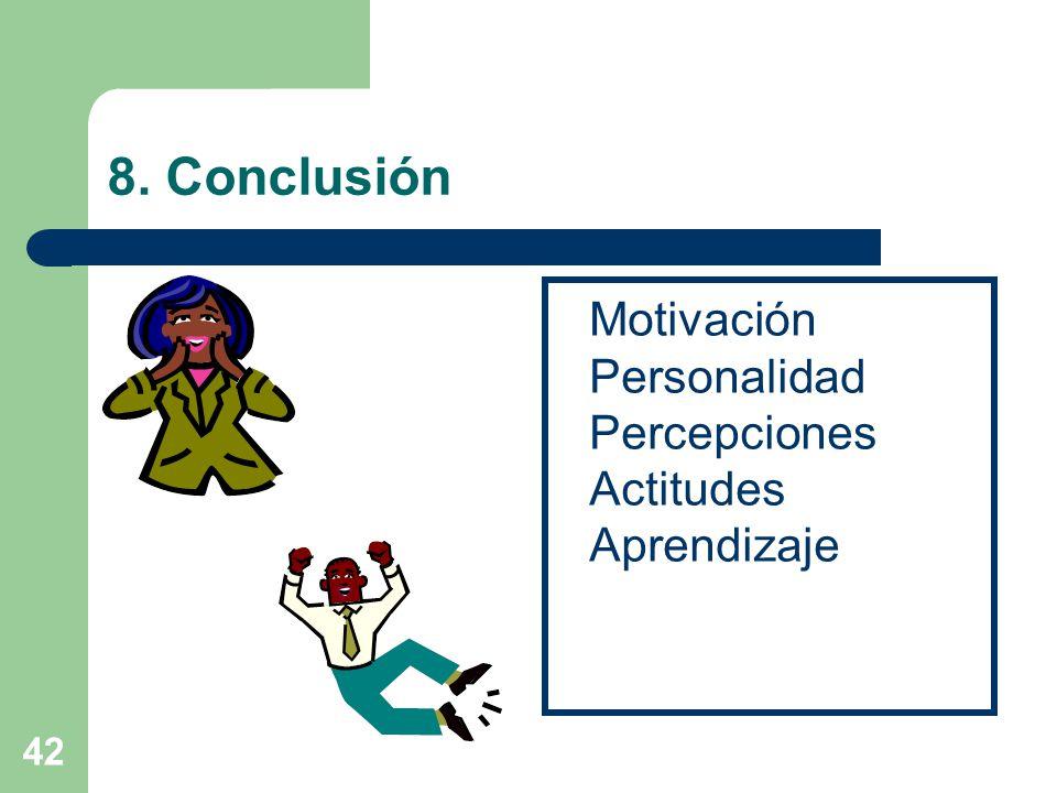 42 8. Conclusión Motivación Personalidad Percepciones Actitudes Aprendizaje