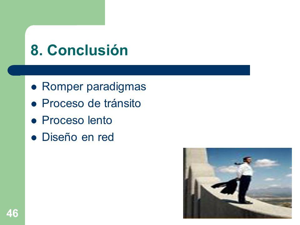 46 8. Conclusión Romper paradigmas Proceso de tránsito Proceso lento Diseño en red