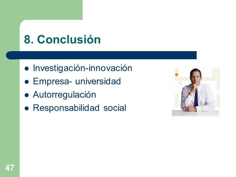 47 8. Conclusión Investigación-innovación Empresa- universidad Autorregulación Responsabilidad social