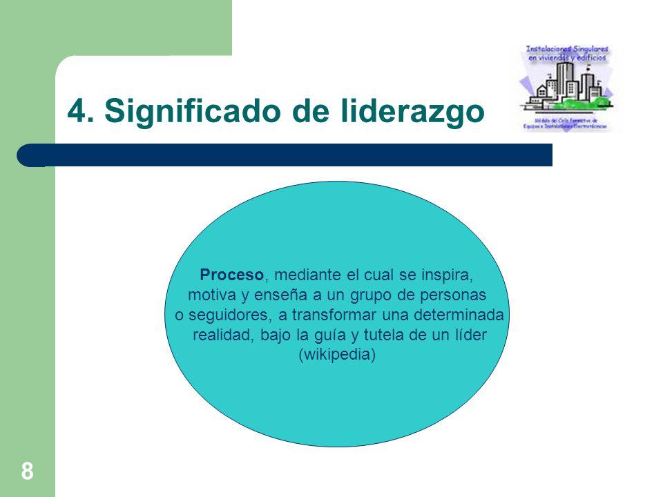 8 4. Significado de liderazgo Proceso, mediante el cual se inspira, motiva y enseña a un grupo de personas o seguidores, a transformar una determinada
