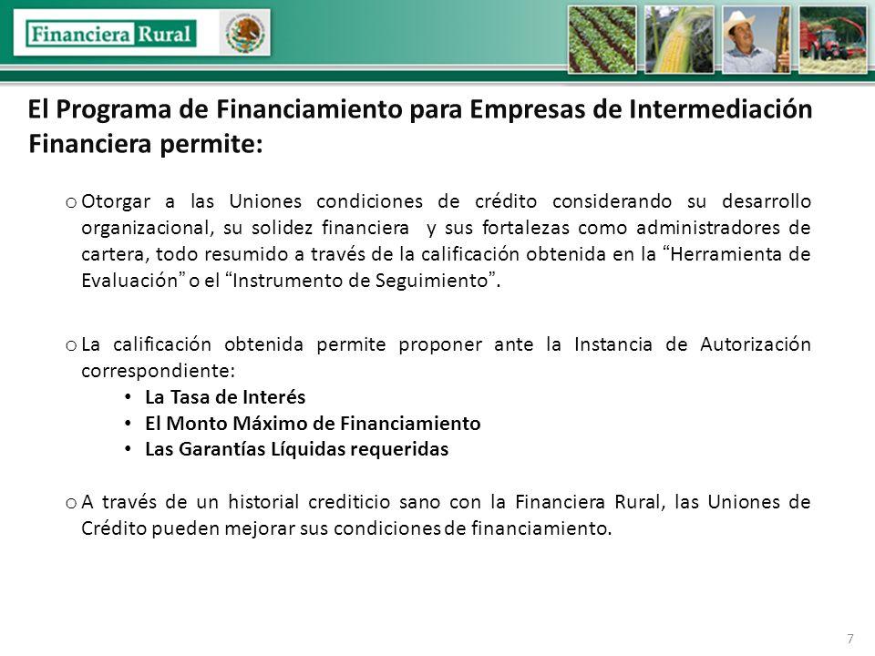 8 Monto Máximo de Financiamiento: Dependiendo de la calificación, entre 6 y 10 veces su capital contable.