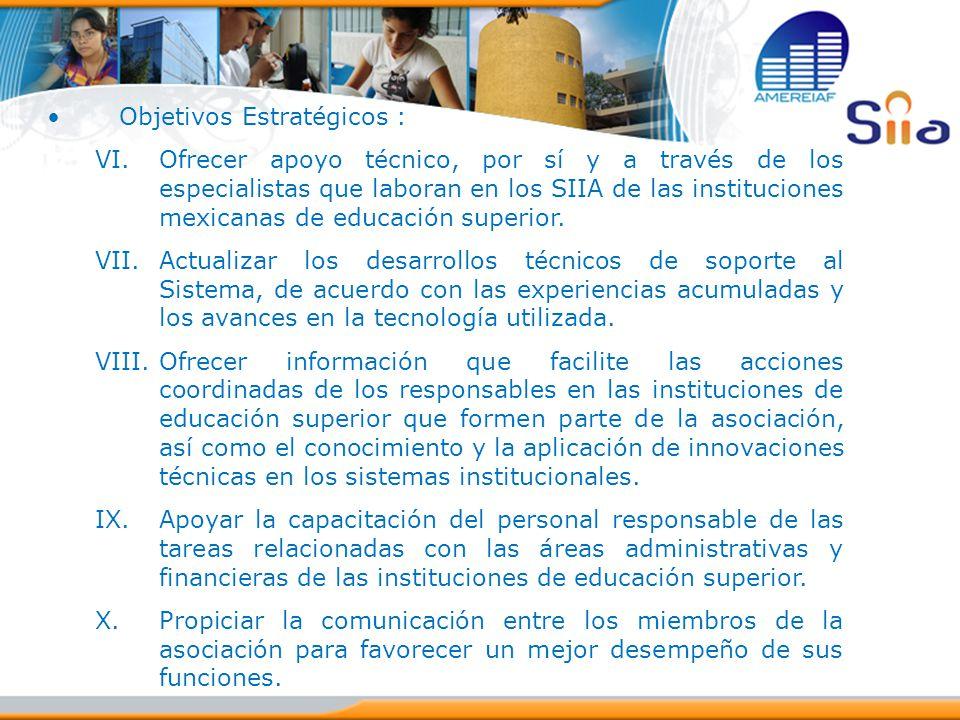 Objetivos Estratégicos : VI.Ofrecer apoyo técnico, por sí y a través de los especialistas que laboran en los SIIA de las instituciones mexicanas de ed