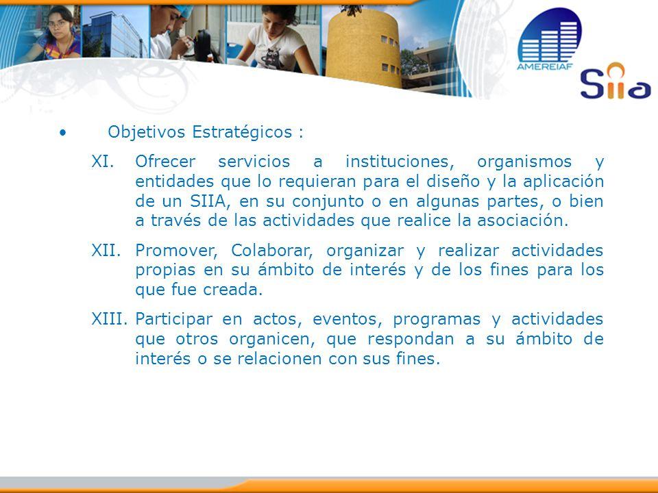 Objetivos Estratégicos : XI.Ofrecer servicios a instituciones, organismos y entidades que lo requieran para el diseño y la aplicación de un SIIA, en s