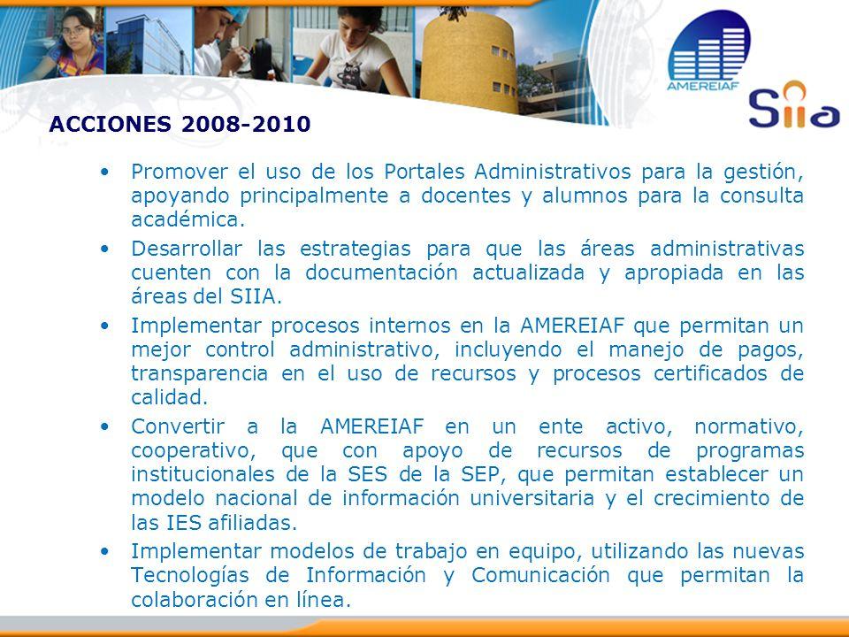 ACCIONES 2008-2010 Promover el uso de los Portales Administrativos para la gestión, apoyando principalmente a docentes y alumnos para la consulta acad