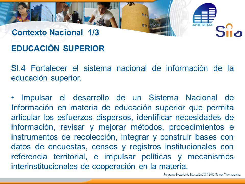 EDUCACIÓN SUPERIOR SI.4 Fortalecer el sistema nacional de información de la educación superior. Impulsar el desarrollo de un Sistema Nacional de Infor