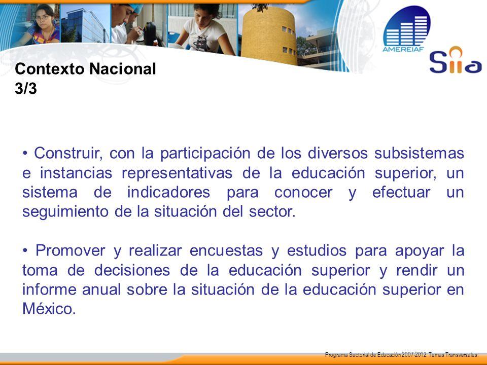 Contexto Nacional 3/3 Construir, con la participación de los diversos subsistemas e instancias representativas de la educación superior, un sistema de