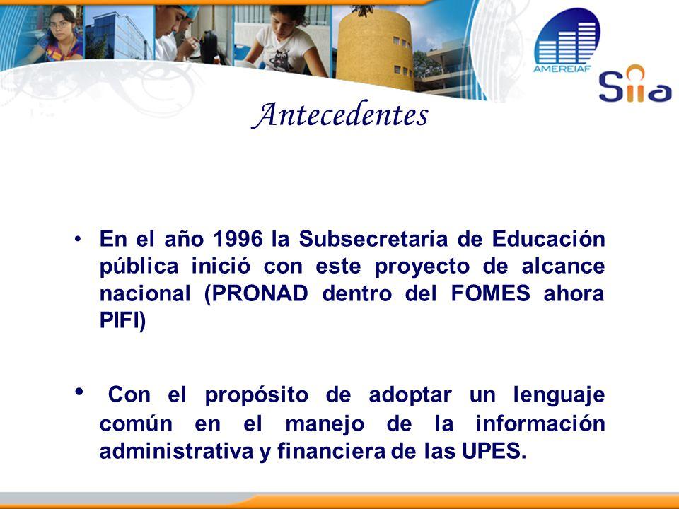 Antecedentes En el año 1996 la Subsecretaría de Educación pública inició con este proyecto de alcance nacional (PRONAD dentro del FOMES ahora PIFI) Co