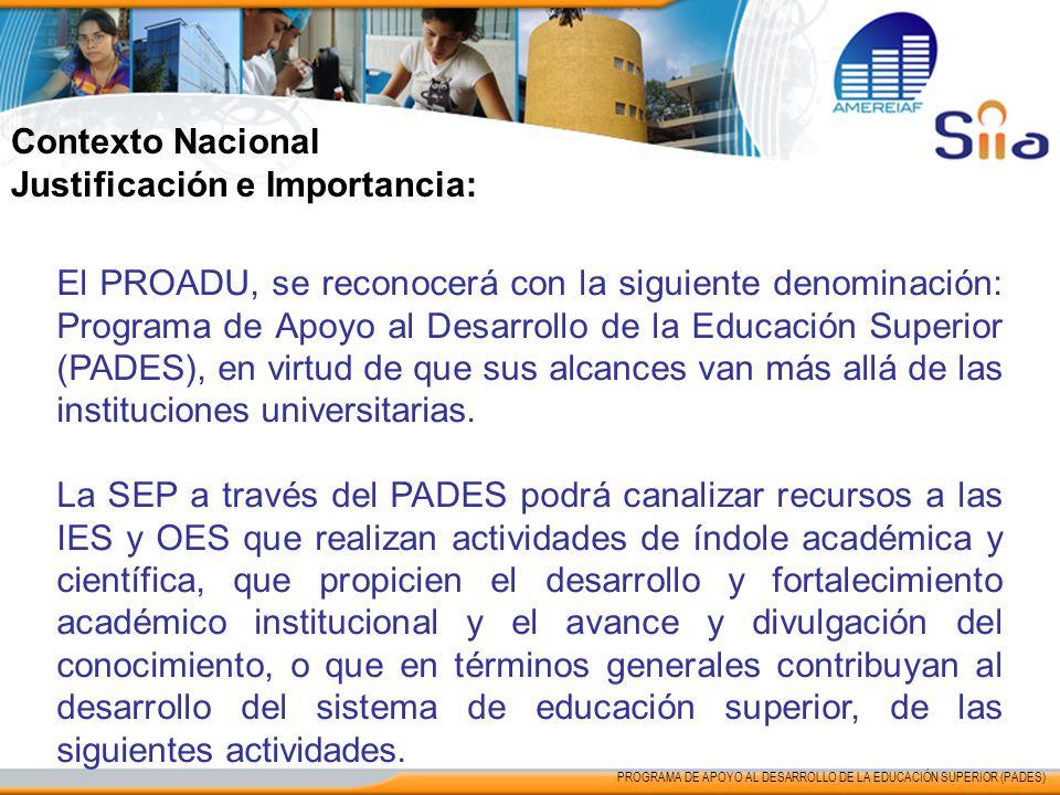 Contexto Nacional Justificación e Importancia: El PROADU, se reconocerá con la siguiente denominación: Programa de Apoyo al Desarrollo de la Educación