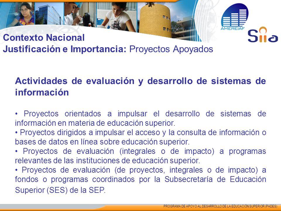 Contexto Nacional Justificación e Importancia: Proyectos Apoyados Actividades de evaluación y desarrollo de sistemas de información Proyectos orientad