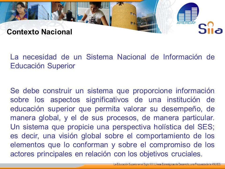 Contexto Nacional La necesidad de un Sistema Nacional de Información de Educación Superior Se debe construir un sistema que proporcione información so