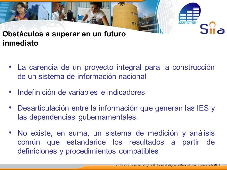 La carencia de un proyecto integral para la construcción de un sistema de información nacional Indefinición de variables e indicadores Desarticulación