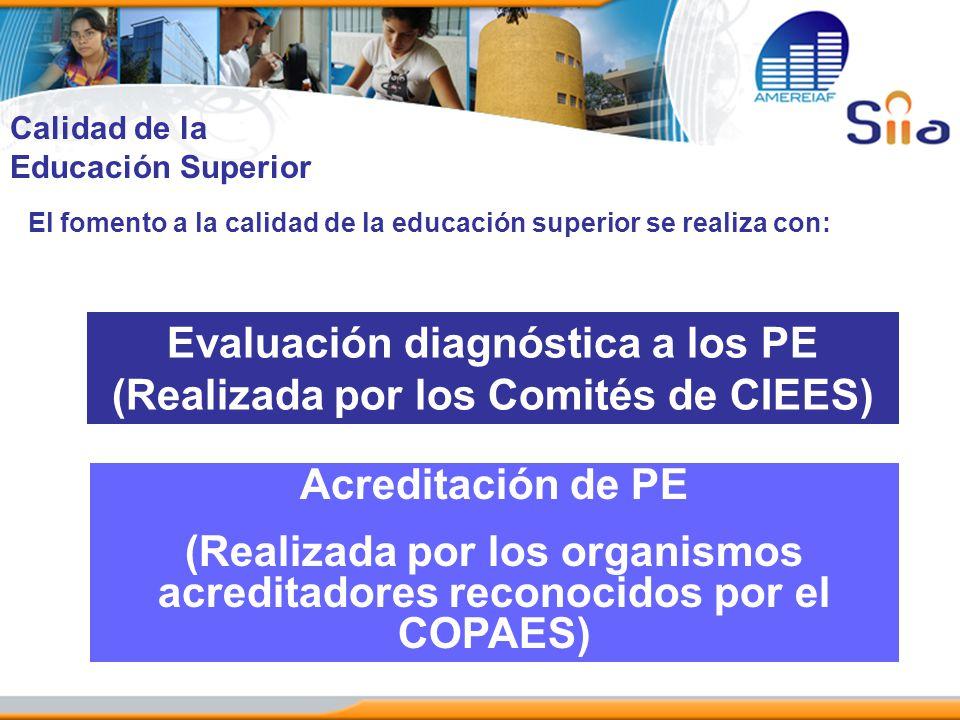 El fomento a la calidad de la educación superior se realiza con: Evaluación diagnóstica a los PE (Realizada por los Comités de CIEES) Acreditación de