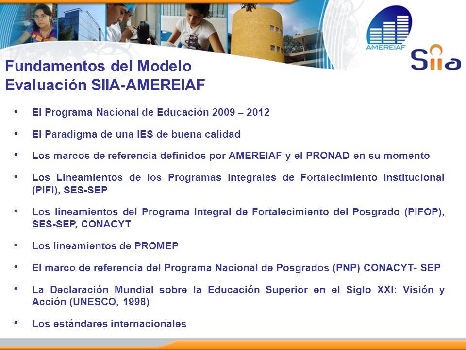 El Programa Nacional de Educación 2009 – 2012 El Paradigma de una IES de buena calidad Los marcos de referencia definidos por AMEREIAF y el PRONAD en