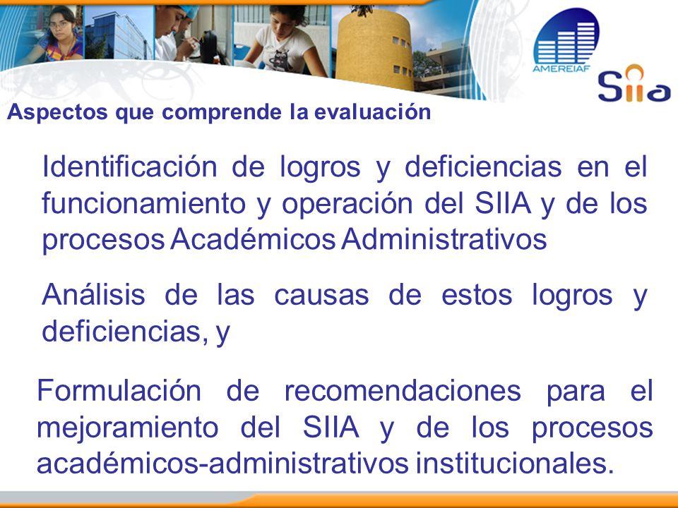 Identificación de logros y deficiencias en el funcionamiento y operación del SIIA y de los procesos Académicos Administrativos Análisis de las causas