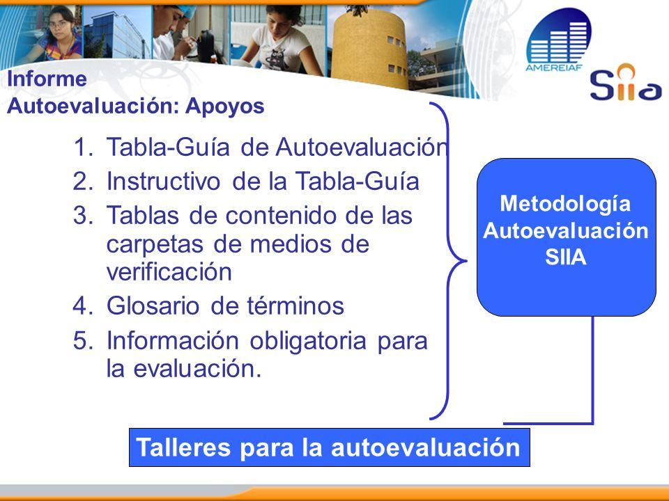 1.Tabla-Guía de Autoevaluación 2.Instructivo de la Tabla-Guía 3.Tablas de contenido de las carpetas de medios de verificación 4.Glosario de términos 5