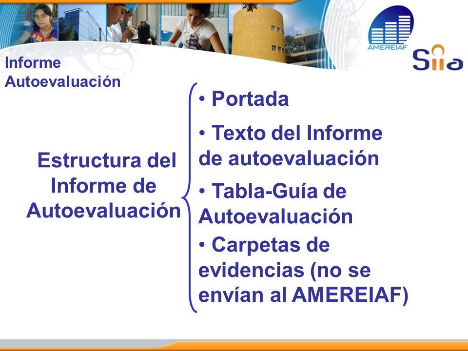 Estructura del Informe de Autoevaluación Portada Texto del Informe de autoevaluación Tabla-Guía de Autoevaluación Carpetas de evidencias (no se envían