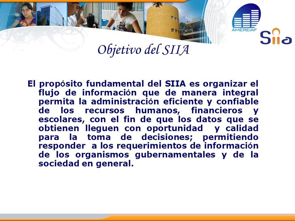 Objetivo del SIIA El prop ó sito fundamental del SIIA es organizar el flujo de informaci ó n que de manera integral permita la administraci ó n eficie