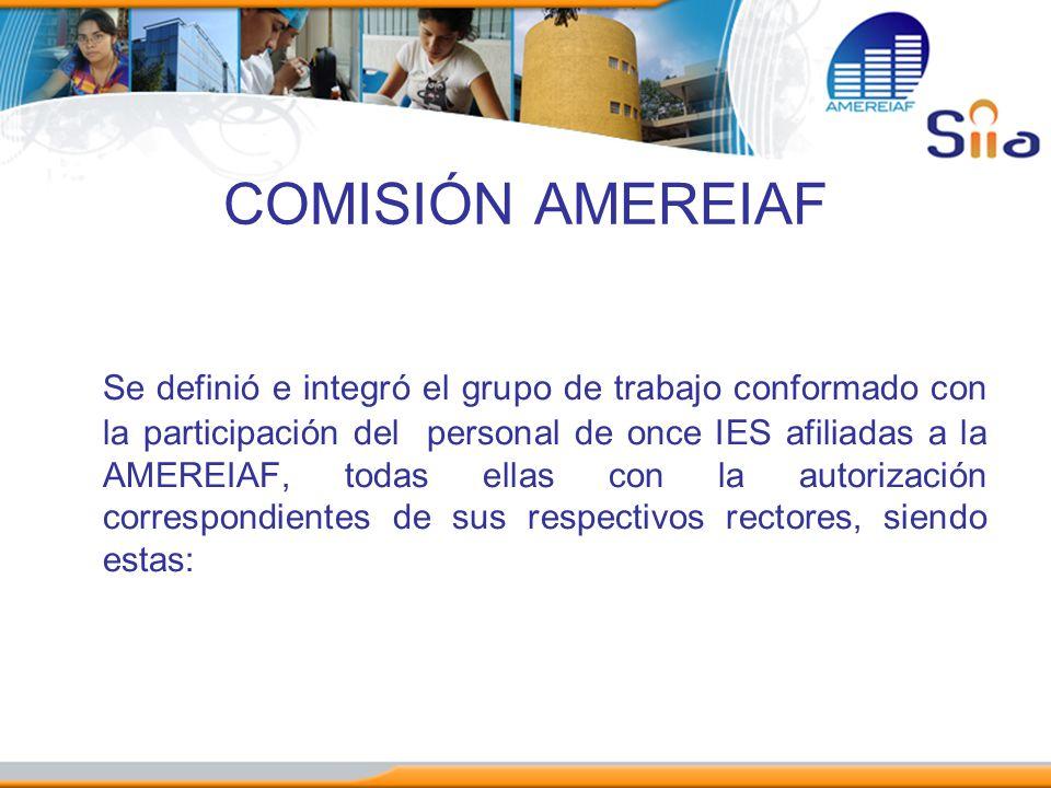 COMISIÓN AMEREIAF Se definió e integró el grupo de trabajo conformado con la participación del personal de once IES afiliadas a la AMEREIAF, todas ell