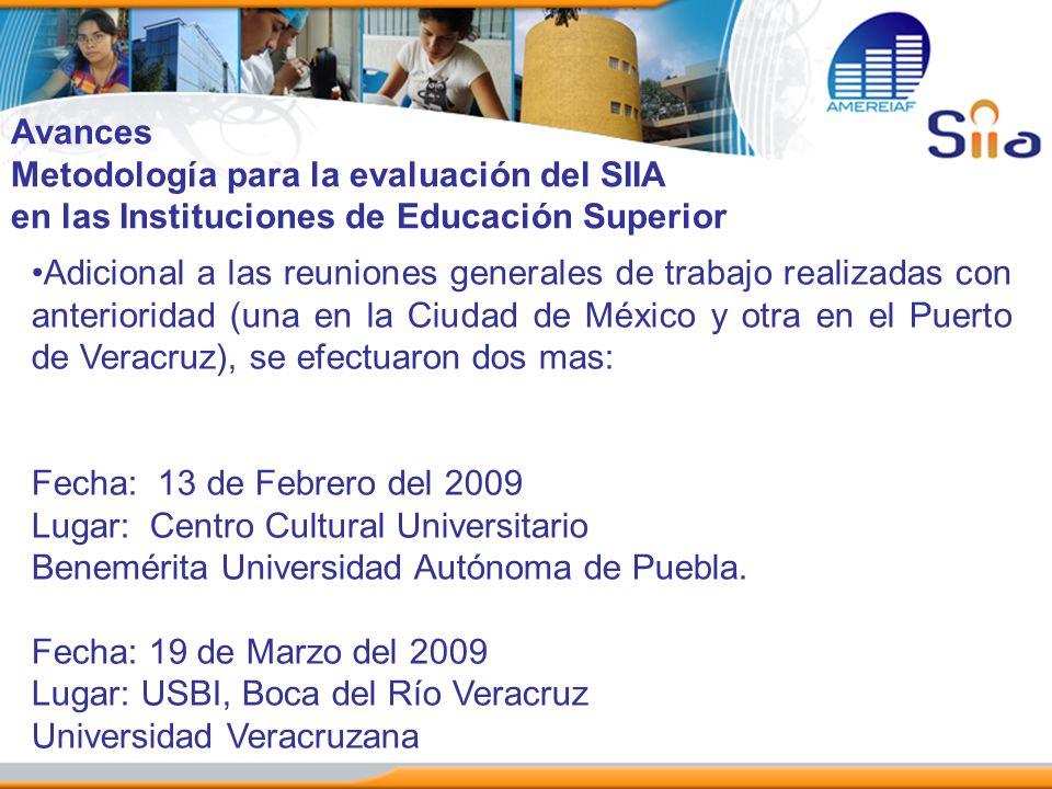 Avances Metodología para la evaluación del SIIA en las Instituciones de Educación Superior Adicional a las reuniones generales de trabajo realizadas c