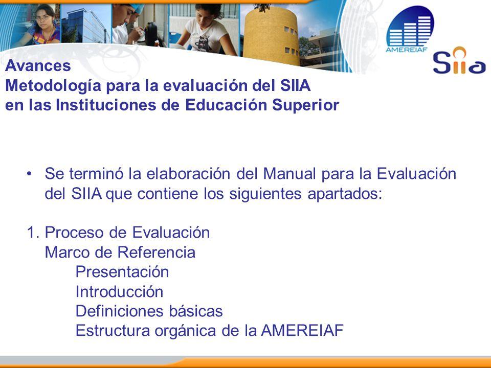 Avances Metodología para la evaluación del SIIA en las Instituciones de Educación Superior Se terminó la elaboración del Manual para la Evaluación del