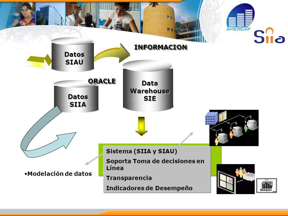 DataWarehouseSIE Sistema (SIIA y SIAU) Soporta Toma de decisiones en Línea Transparencia Indicadores de Desempeño INFORMACION Modelación de datos Dato