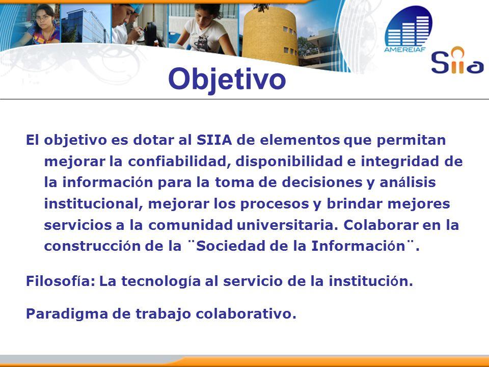 Objetivo El objetivo es dotar al SIIA de elementos que permitan mejorar la confiabilidad, disponibilidad e integridad de la informaci ó n para la toma