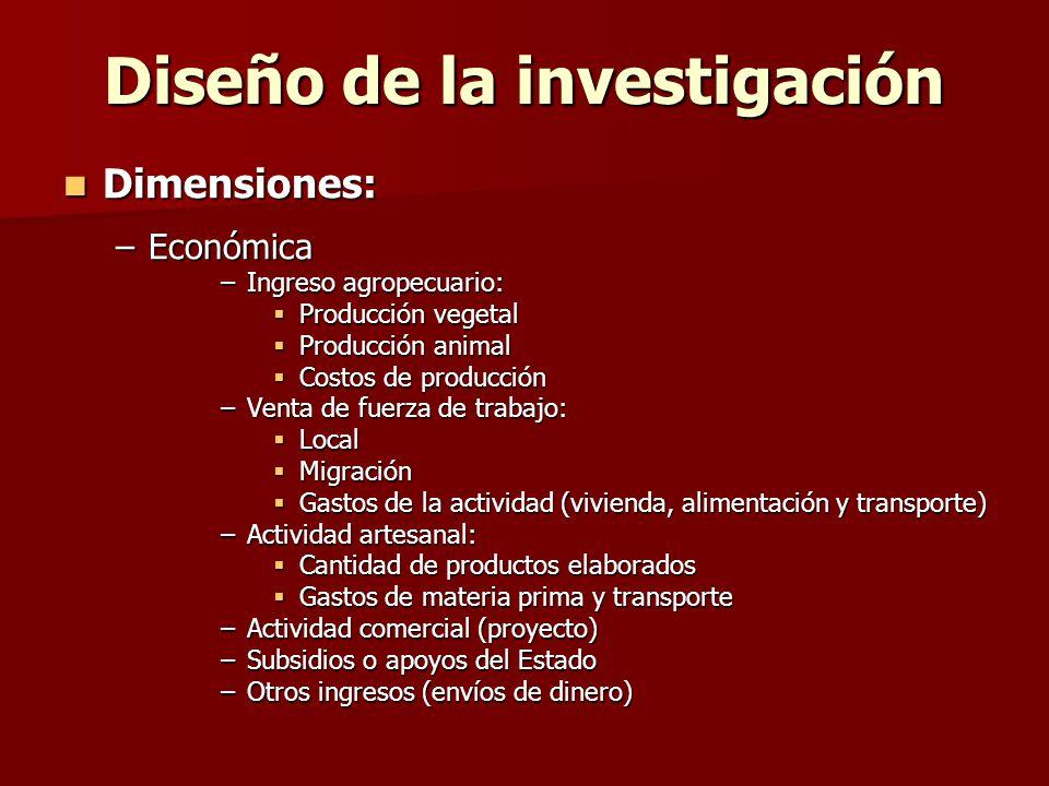 Diseño de la investigación Dimensiones: –E–E–E–Económica –I–I–I–Ingreso agropecuario: Producción vegetal Producción animal Costos de producción –V–V–V