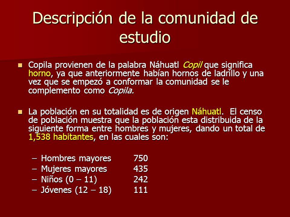 Descripción de la comunidad de estudio Copila provienen de la palabra Náhuatl Copil que significa horno, ya que anteriormente habían hornos de ladrillo y una vez que se empezó a conformar la comunidad se le complemento como Copila.