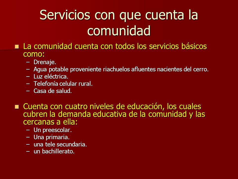 Servicios con que cuenta la comunidad La comunidad cuenta con todos los servicios básicos como: La comunidad cuenta con todos los servicios básicos como: –Drenaje.