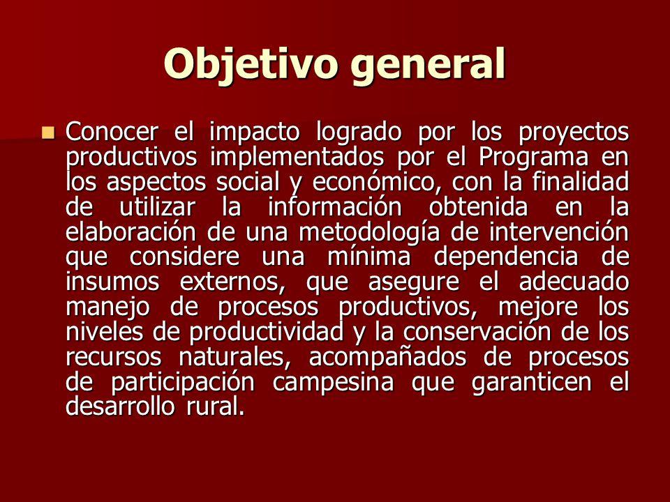 Objetivo general Conocer el impacto logrado por los proyectos productivos implementados por el Programa en los aspectos social y económico, con la fin