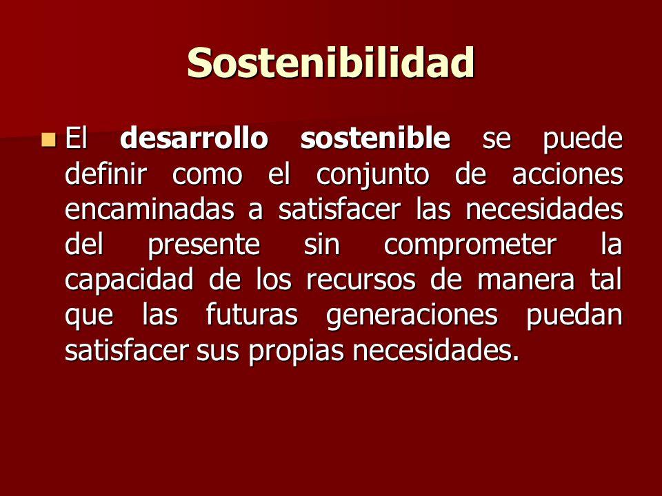Sostenibilidad El desarrollo sostenible se puede definir como el conjunto de acciones encaminadas a satisfacer las necesidades del presente sin comprometer la capacidad de los recursos de manera tal que las futuras generaciones puedan satisfacer sus propias necesidades.