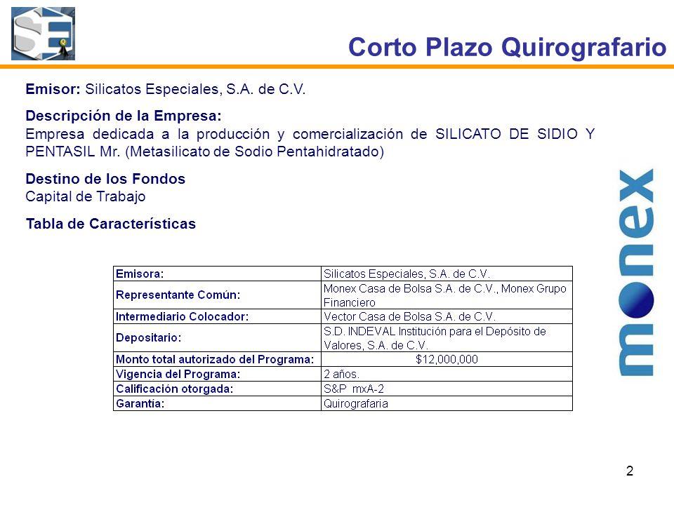 2 Corto Plazo Quirografario Emisor: Silicatos Especiales, S.A.
