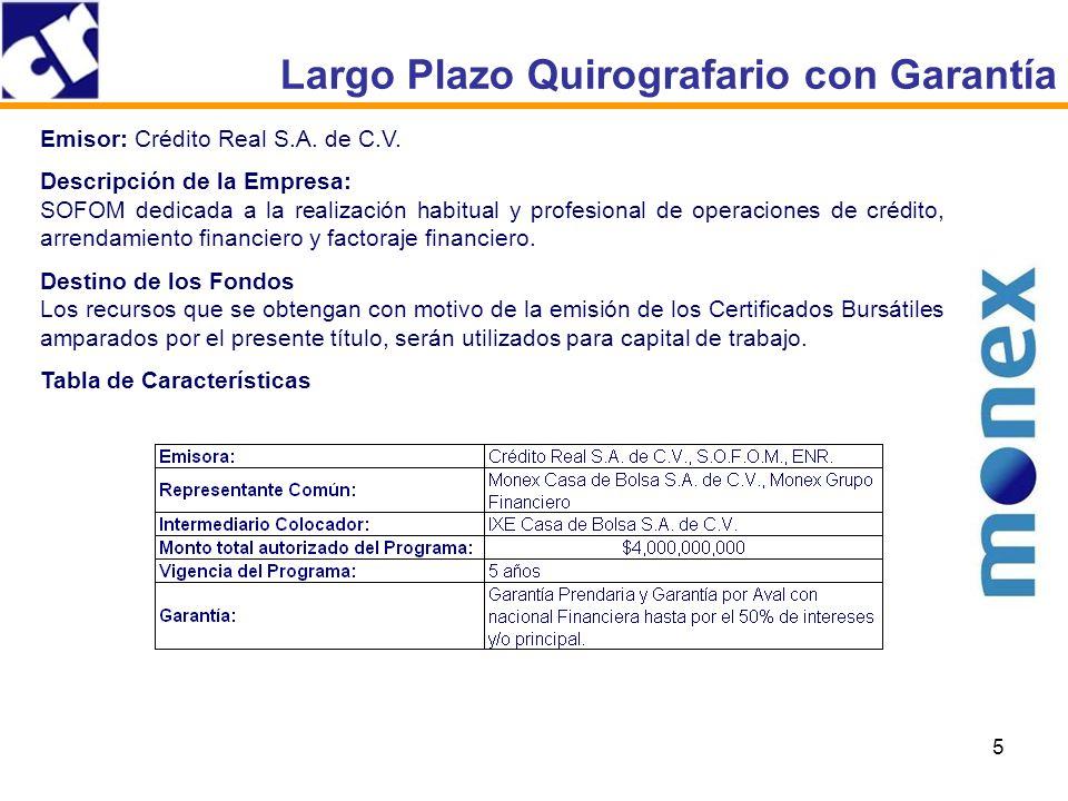 5 Largo Plazo Quirografario con Garantía Emisor: Crédito Real S.A.