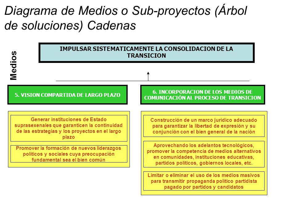 Medios IMPULSAR SISTEMATICAMENTE LA CONSOLIDACION DE LA TRANSICION 6.