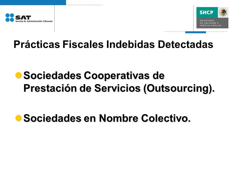 Prácticas Fiscales Indebidas Detectadas Sociedades Cooperativas de Prestación de Servicios (Outsourcing). Sociedades Cooperativas de Prestación de Ser